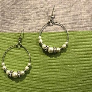 Jewelry - Silver hoops with pearls and rhinestones.